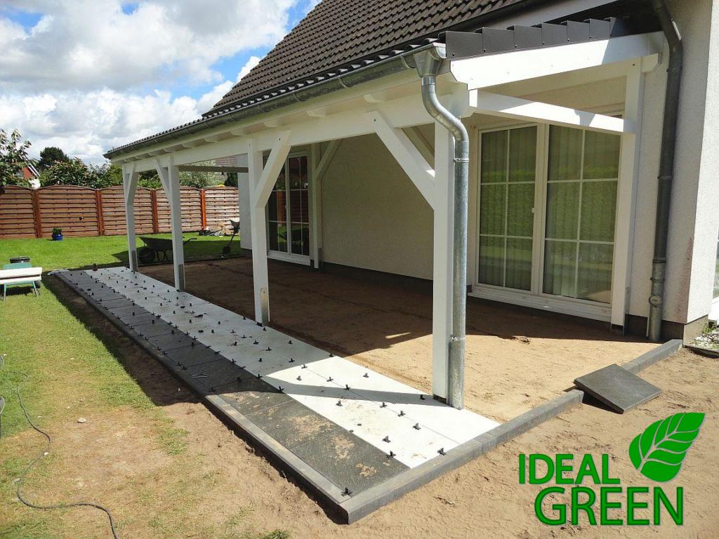Terrasse Vordach Pflasterarbeiten Platten legen Muster – IDEAL GREEN