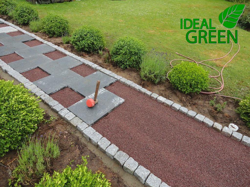 weg aus granitplatten pflasterarbeiten platten legen – ideal green